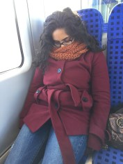 The second we get on the train, Malavika was passed out.