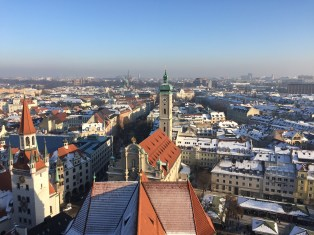 Views from the church tower overlooking Munich.