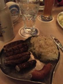 My favorite German meal: Sausage, sauerkraut, horseradish, and a pretzel.