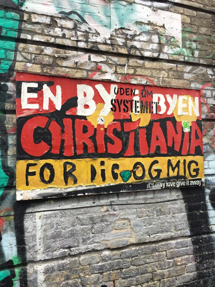 Heading into Christiania. Christiania is basically a hippy commune within the city of Copenhagen. It considers itself its own country. It doesn't believe itself to be part of the EU.