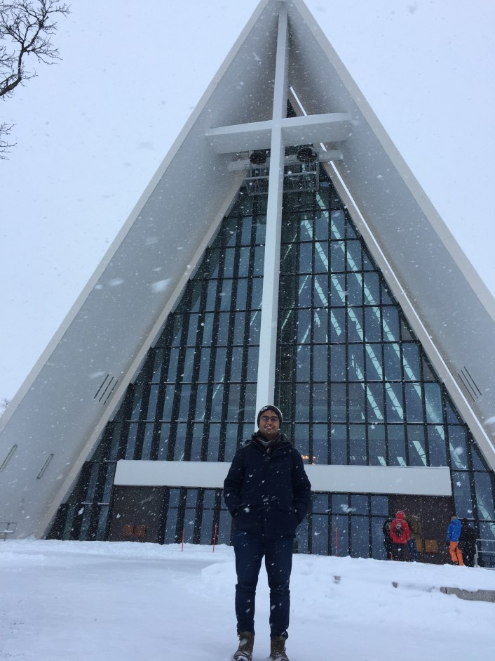 This was the more iconic church in Tromsø. We couldn't go inside, but it had some interesting architecture.