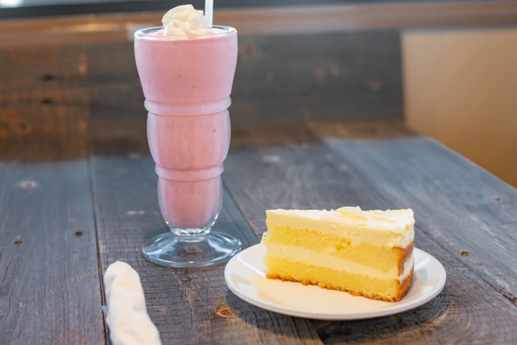 Lemon pie, and strawberry shake only at Benjies NY Deli