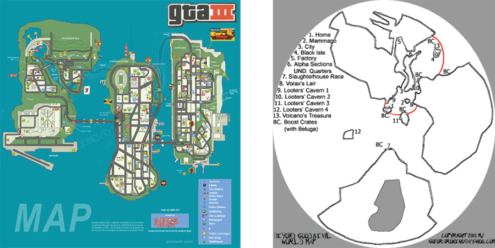 beyond good and evil review - gta3 map comparison