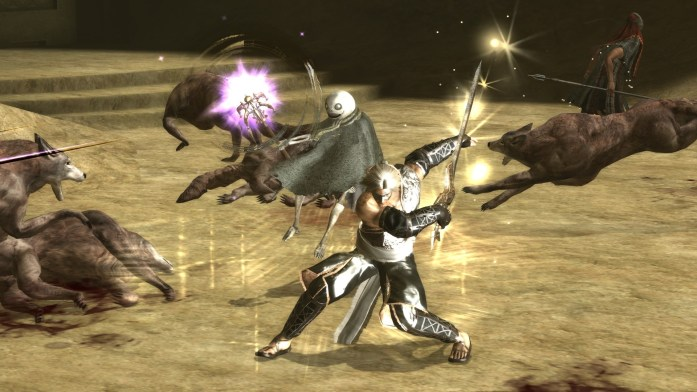 nier review - fighting wolves