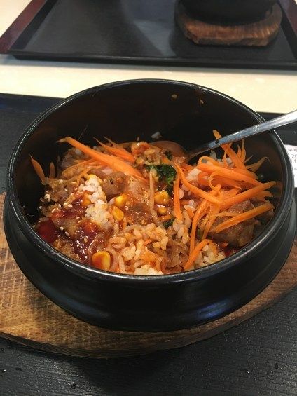 Bibimbap! It was spicier than I expected it to be but it was tasty. It tasted different than the Korean spots back at home, but it was still good!