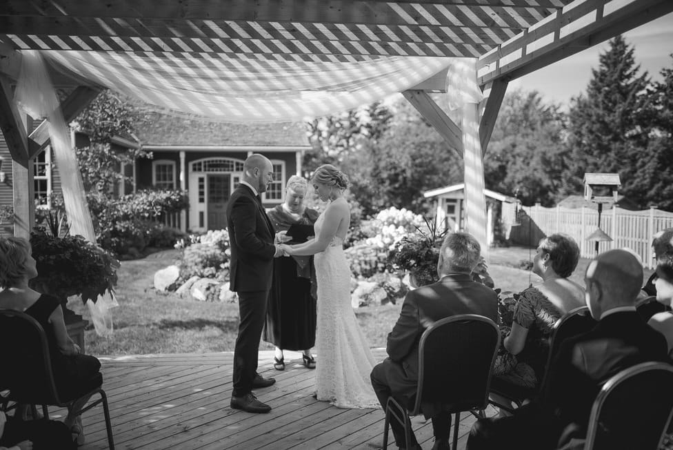 strips of light on backyard deck micro wedding ceremony