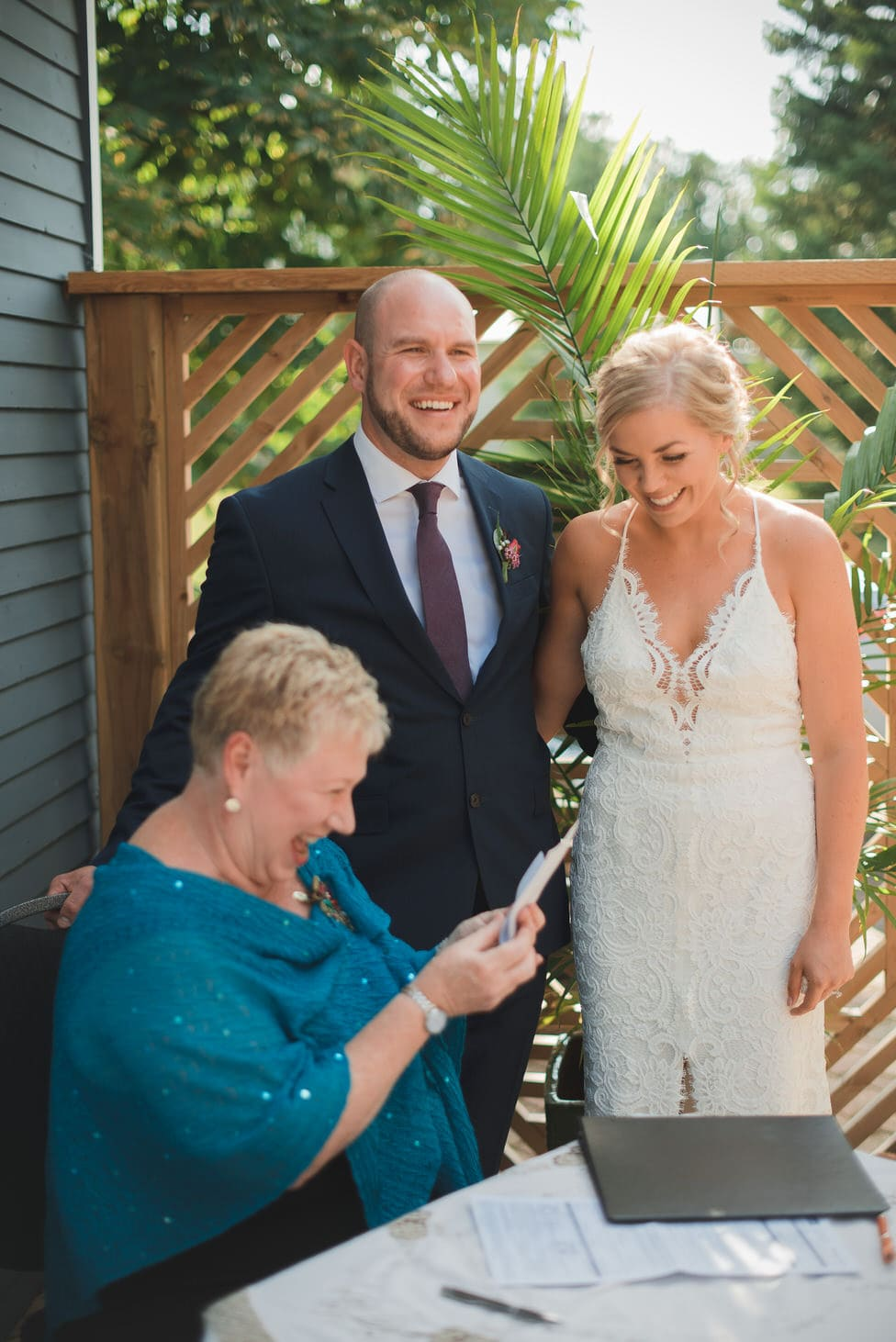 officiant nancy knowles officially announces couple to be married
