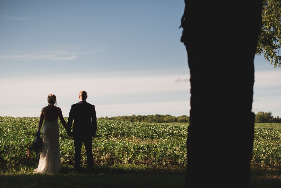 silhouette of bride and groom standing by farmer's field