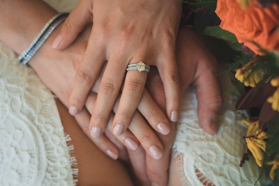 closeup of bride and groom's hand with wedding rings