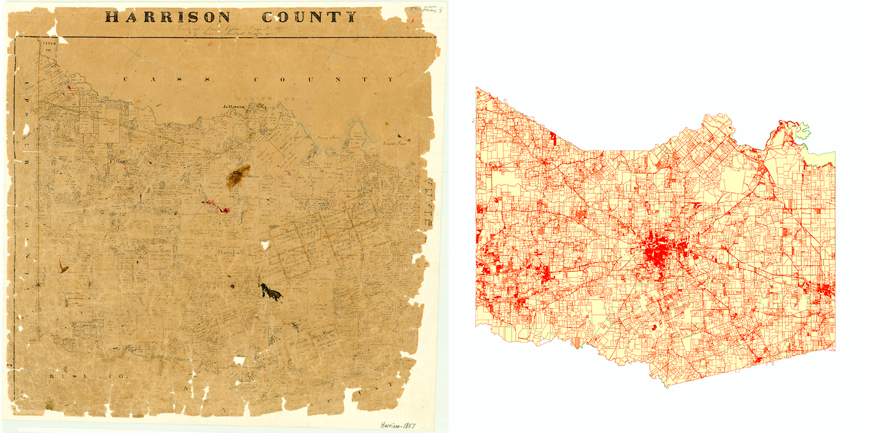 Harrison County Map, 1857 & 2015