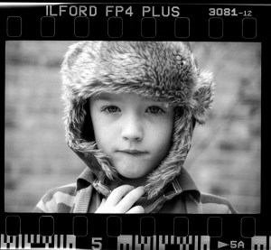 black and white portrait shot on 35mm ilford fp4