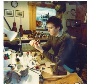 Ben Long creating a falconry hood