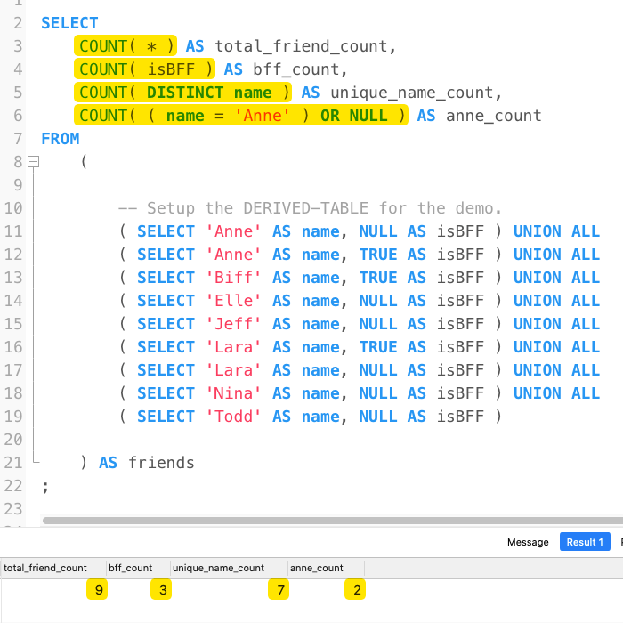 Using COUNT(). COUNT(column). And COUNT(expression) Variations To Extract Row Metadata In MySQL 5.7.32