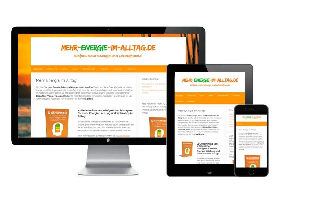 Webseite von Mehr Energie im Alltag