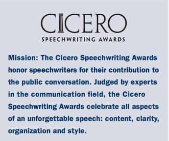 Elaine Bennett has won a Cicero Speechwriting Award