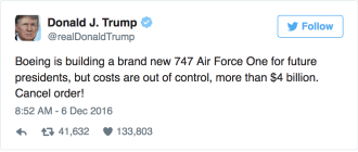 Boeing's CEO responded to Trump's intemperate tweet