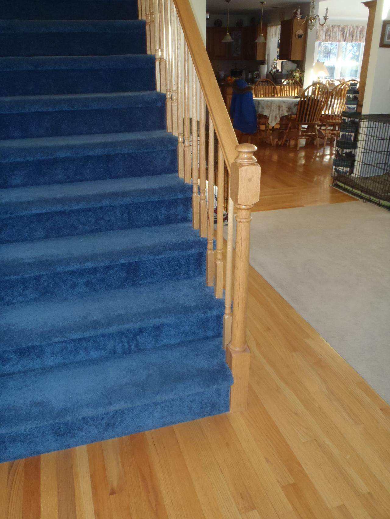 Bennett Stair Company Inc Remodels Nustair Installations   Blue Carpet On Stairs   Wooden   Grey Stair White Wall   Antelope   Geometric   Gray