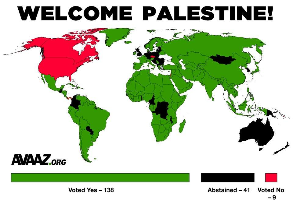 World map of votes for Palestinian statehood
