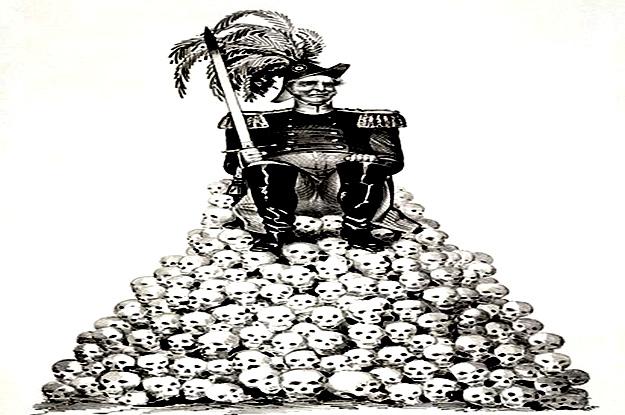 settler colonist sitting on skulls 625 x 415