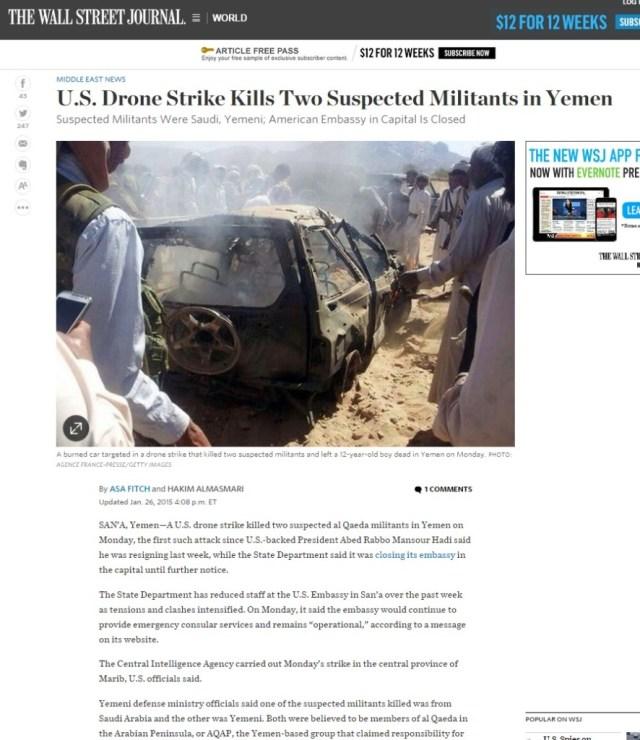 wsj drone strike yemen 12-year-old boy