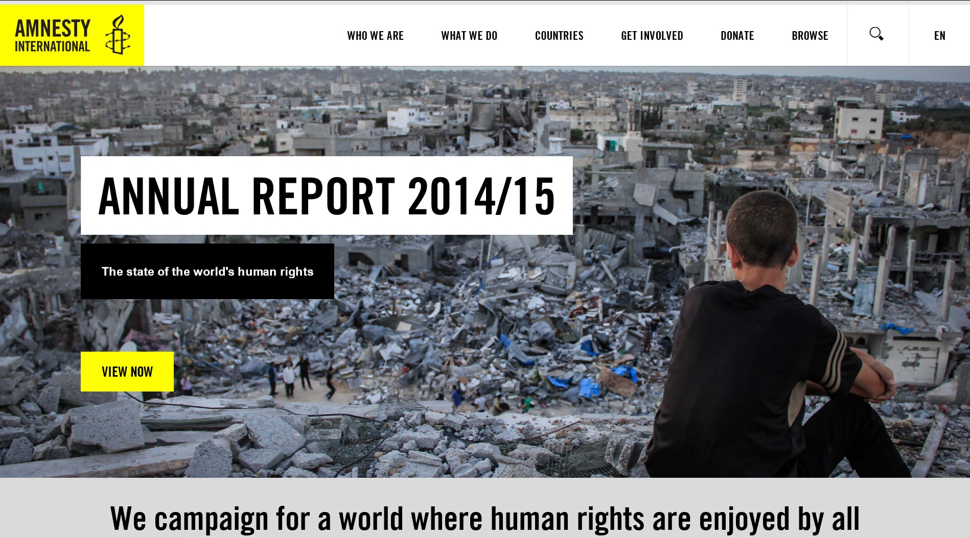 For the front page of its annual report, Amnesty International chose a photo of rubble in Gaza, after Israel