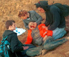 Rachel Corrie, after being run over by an Israeli bulldozer