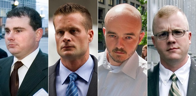 The four white terrorists, employed by Blackwater, paid with US tax dollars