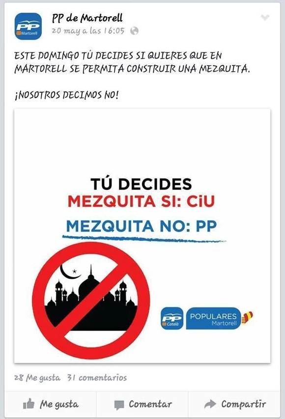 An overtly Islamophobic Facebook post by the PP in Martorell, a city in Cataluña