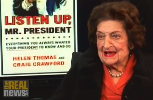 Helen Thomas on Obama and Israel-Palestine