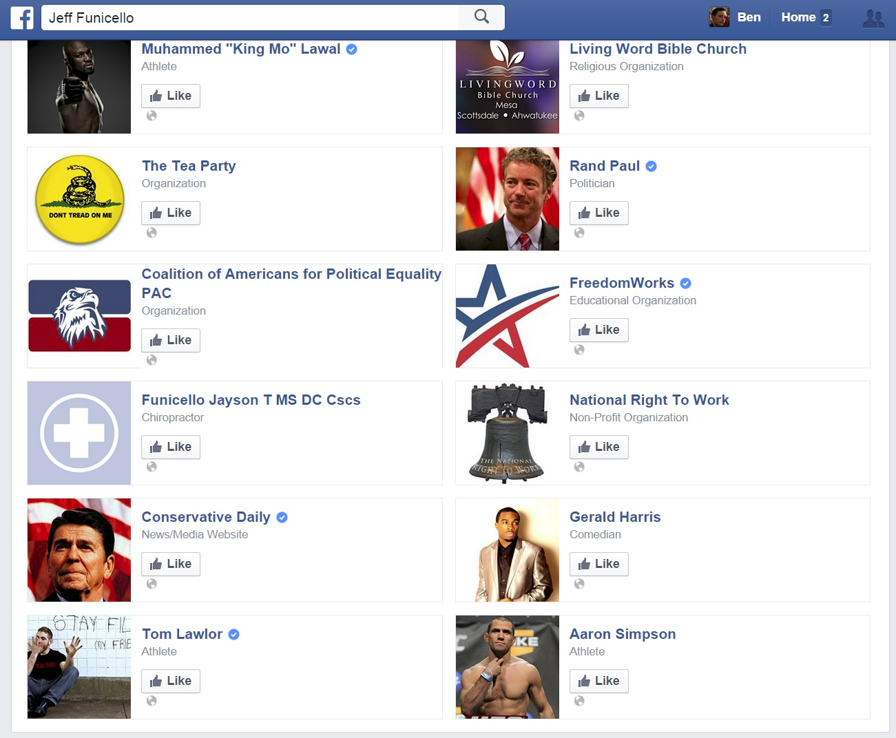 The right-wing pages Jeff Funicello likes on Facebook