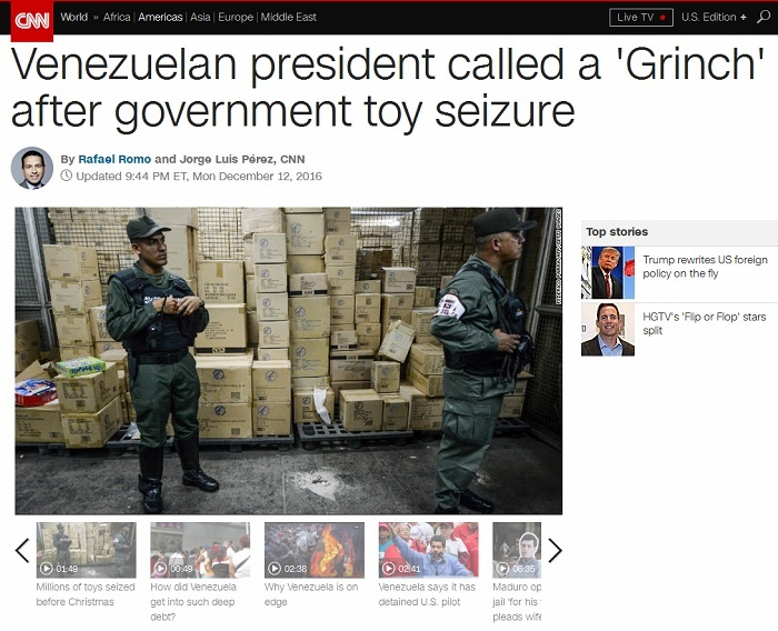 "CNN quotes ""Venezuelan"" who's not Venezuelan to smear government as ""Grinch"" for expropriating toys for poor kids"