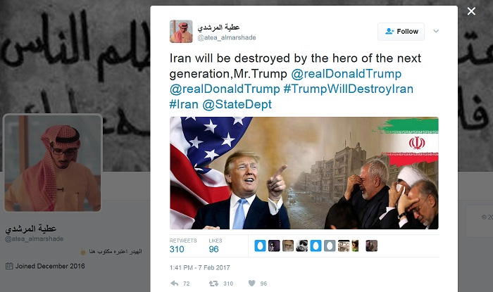 """Trump will destroy Iran!"" Saudis gloat, ecstatically thanking the anti-Muslim president"