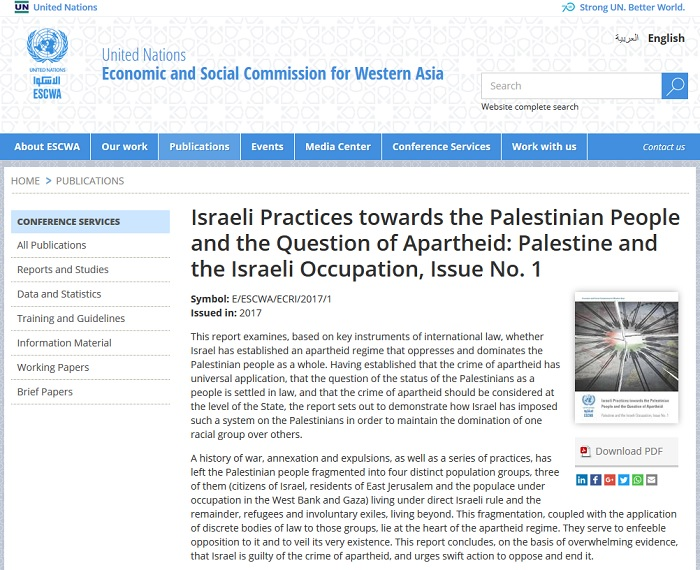 UN was pressured to take down its report on Israeli apartheid. I archived it here