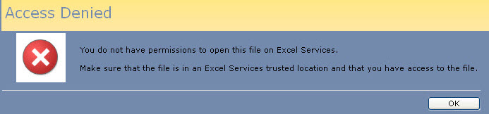 Figure 1 - Error Message From Excel Service