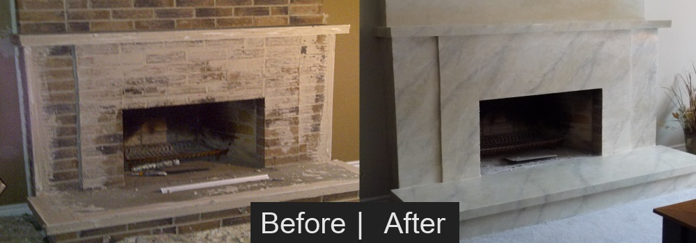 Cover Fireplace With Drywall Brick To Marble Effect - Bennys Painting