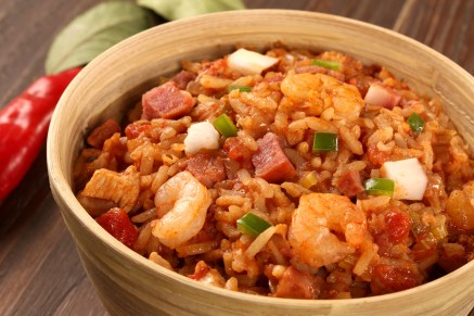 Rice, shrimp, sausage, and peppers with Cajun spice.