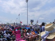 Jazz Fest crowds enjoying the weather and music.