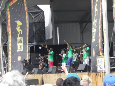 Rebirth Brass Band on stage at Jazz Fest 2014