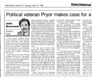 Brummett's column ran day later, 4/14/1987. Coincidence?