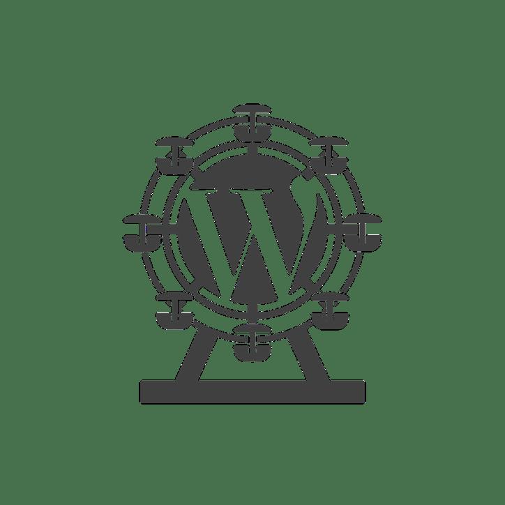 Square WordPress logo with Ferris wheel motif