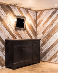 Wood wall (with a black plaster credenza by Brigham's furniture)