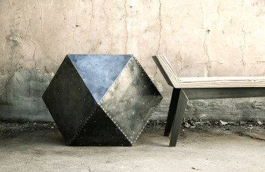 steel-clad side table and half moon bench
