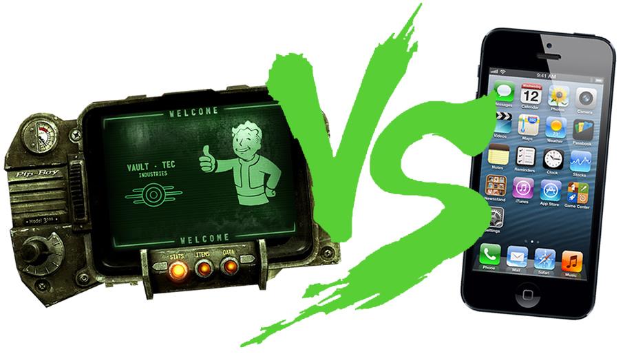 Fantasy FaceOff PipBoy 3000 vs iPhone 5