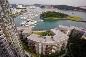 Day view from a typical tower unit on 20th floor at Reflections at Keppel Bay