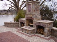 landscape outdoor fireplace - Benson Stone
