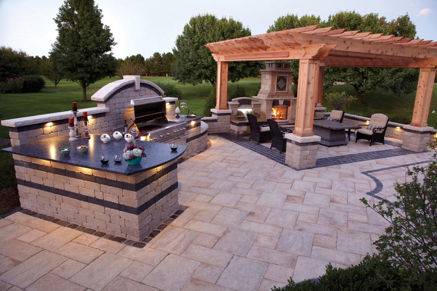 how to make an outdoor kitchen 36 curtains living benson stone co rockford il fireplace and grill by unilock at in