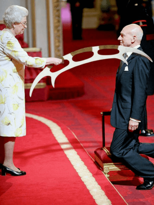Patrick Stewart being knighted