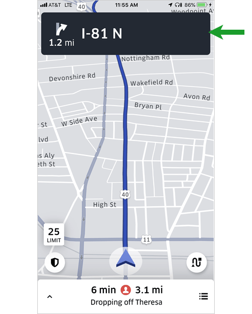 How to edit the destination in the Uber driver's app - Bent Corner