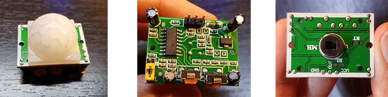 De gauche à droite : Capteur PIR, vue côté composants, capteur sans le capot.