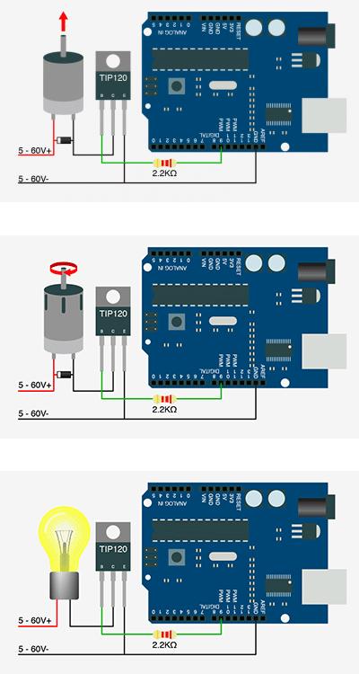 Contrôle de puissance avec Arduino via un TIP120.